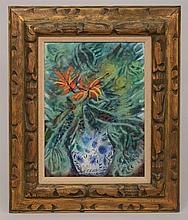 20th Century School: Enamel on Copper Floral Still Life