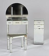 Group of Mirrored Glass Dressing Room Furniture