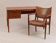 Hans Wegner Teak Desk and Armchair for Johannes Hansen, Copenhagen