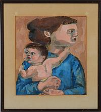 Oskar Julius Weiss (1920-1987): Figure with Child