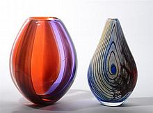 Murano Art Glass Vase and a Tear-Drop Shaped Art Glass Vase