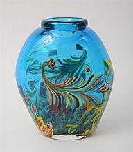 Murano Blue Paperweight Art Glass Vase