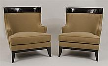 Pair of Modern Ebonized and Upholstered Barrel-Back Club Chairs