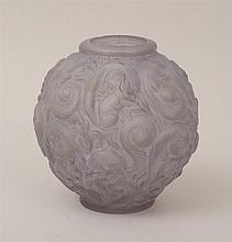 French Art Deco Relief-Decorated Glass Vase