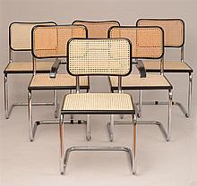 Assembled Set of Twelve Modern Chrome and Ebonized Caned Seat Chairs, a Design After Marcel Breuer