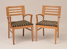 Pair of Modern Oak Armchairs