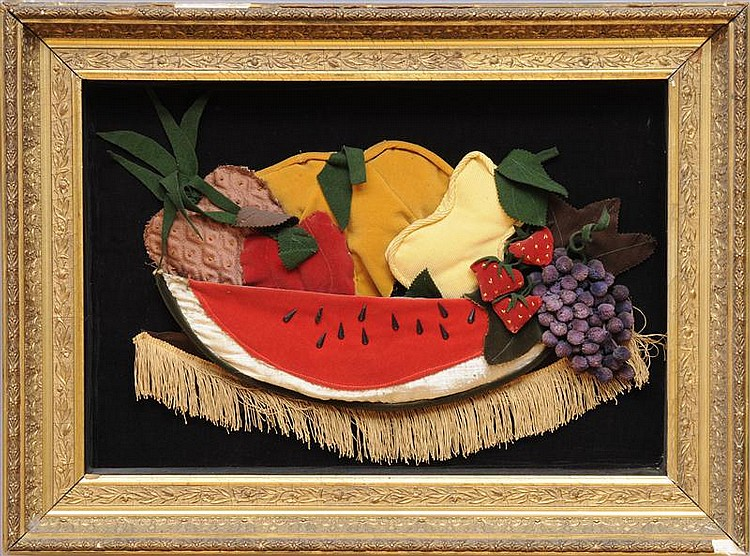 VICTORIAN VELVET, FELT AND REP STILL LIFE OF FRUIT ON TABLE, IN SHADOWBOX FRAME