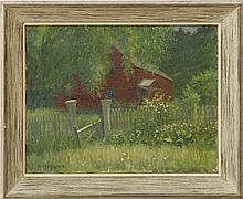 BERT GEER PHILLIPS (1868-1956): RED HOUSE IN THE GARDEN