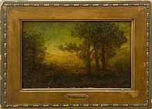 ATTRIBUTED TO RALPH ALBERT BLAKELOCK (1847-1919): LANDSCAPE WITH SEATED FIGURE