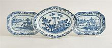 PAIR OF CHINESE BLUE AND WHITE PORCELAIN SMALL CHAMFERED RECTANGULAR PLATTERS AND AN OBLONG PLATTER