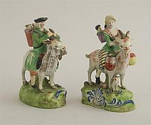 PAIR OF STAFFORDSHIRE PEARLWARE FIGURES, THE TAILOR OF GLOUCESTER AND HIS WIFE