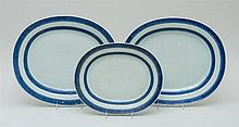 SET OF THREE CHINESE EXPORT PORCELAIN OVAL PLATTERS
