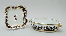 PARIS PORCELAIN TWO-HANDLED OVAL DISH AND A CHINESE EXPORT PORCELAIN SQUARE PLATE