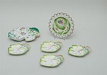 CHELSEA TYPE PORCELAIN RETICULATED DISH AND A LEAF-FORM DISH
