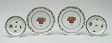PAIR OF CHINESE EXPORT PORCELAIN MONOGRAMMED PLATTERS AND A PAIR OF ENGLISH GRISAILLE PLATES