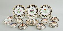 ENGLISH PORCELAIN EIGHTEEN-PIECE PART TEA SERVICE AND SET OF SIX ENGLISH PORCELAIN PLATES