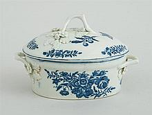 WORCESTER TRANSFER-PRINTED BLUE AND WHITE BUTTER TUB AND COVER