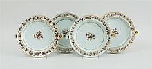 SET OF FOUR CHINESE EXPORT PORCELAIN WARMING PLATES