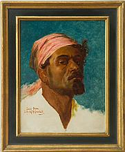 FREDERICK GOODALL (1822-1904): STUDY OF A MAN WEARING A HEAD SCARF