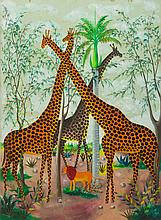 FERNAND PIERRE (1919-2002): THREE GIRAFFES AND A LION