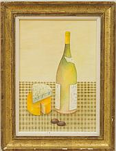 MARY FAULCONER (1912-2011): STILL LIFE WITH WINE AND CHEESE