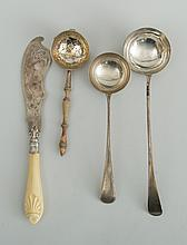 TWO GEORGE III SILVER LADLES, AN IRISH WOOD-HANDLED SILVER-GILT STRAINER AND A VICTORIAN FISH KNIFE WITH SIMULATED IVORY HANDLE