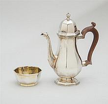 ENGLISH SILVER INDIVIDUAL COFFEE POT AND AN ENGLISH SILVER-GILT SUGAR BOWL