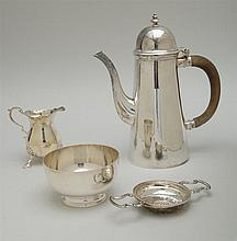 ENGLISH SILVER LIGHTHOUSE-FORM COFFEE POT, A FOOTED BOWL, TRIPOD CREAMER AND A TEA STRAINER