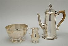 ENGLISH SILVER COFFEE POT AND AN ENGLISH SILVER FOOTED BOWL
