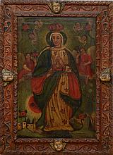 SPANISH COLONIAL SCHOOL: THE VIRGIN AND ANGELS
