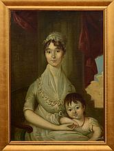 CHRISTIAN GULLAGER (1762-1826): PORTRAIT OF GERTRUDE NEILSON WOODHULL AND SON, WILLIAM HENRY