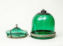 Regency Style Metal-Banded Green Glass Hall Lantern