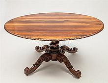 Victorian Carved Rosewood Oval Center Table