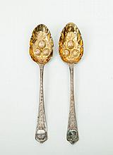 Pair of Georgian Silver Spoons, Refashioned as Fruit Spoons