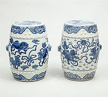 Two Similar Modern Chinese Blue and White Porcelain Barrel-Form Garden Stools