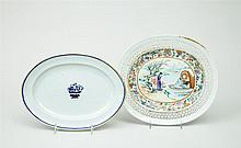 Chinese Export Famille Rose Porcelain Oval Platter and Platter with Fruit Compote