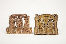 Two Carved Wood Plaques, The Holy Family and Madonna and Child and Two Figures