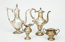 American Silver Repoussé Three-Piece After-Dinner Coffee Service, and a Gorham Monogrammed Silver Coffee Pot