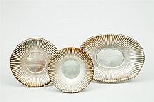 Two Reed & Barton Silver Reeded Trays, and a Similar American Silver Footed Fruit Bowl