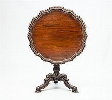 George III Style Carved Mahogany Tilt-Top Tripod Table