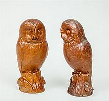 Pair of Brown Glazed Pottery Figures of Owls