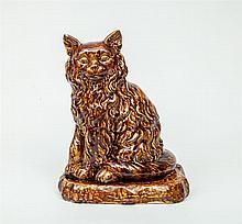 Rockingham Type Tortoise-Glazed Pottery Figure of a Seated Cat