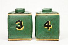 Pair of Chinese Green-Ground Tôle Peinte Canisters and Covers