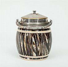 English Agateware Pottery Biscuit Barrel