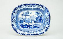 Staffordshire Blue Transfer-Printed Platter, in the Wild Rose Pattern