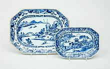 Two Chinese Export Blue and White Porcelain Chamfered Rectangular Platters
