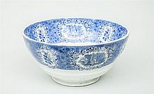 Staffordshire Blue Transfer-Printed Porcelain Punch Bowl