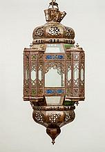 Near Eastern Glass-Mounted Brass Lantern