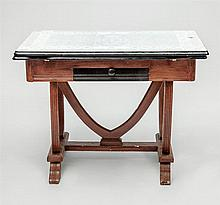 Enamel Metal-Top and Painted Oak Extension Dining Table