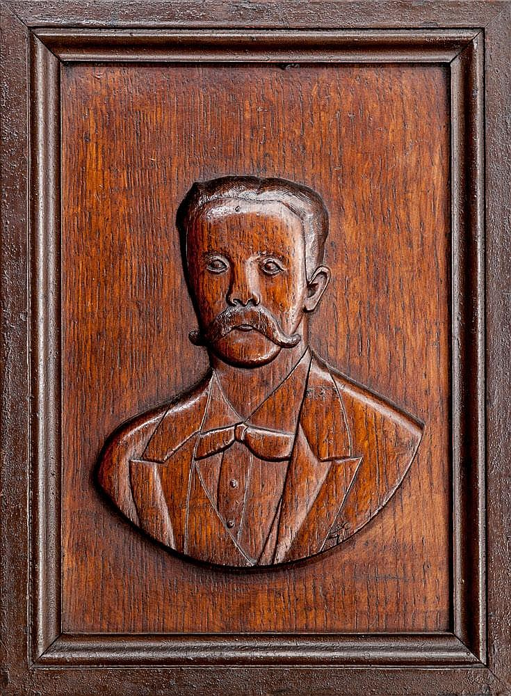 Three french relief carved wood portrait plaques